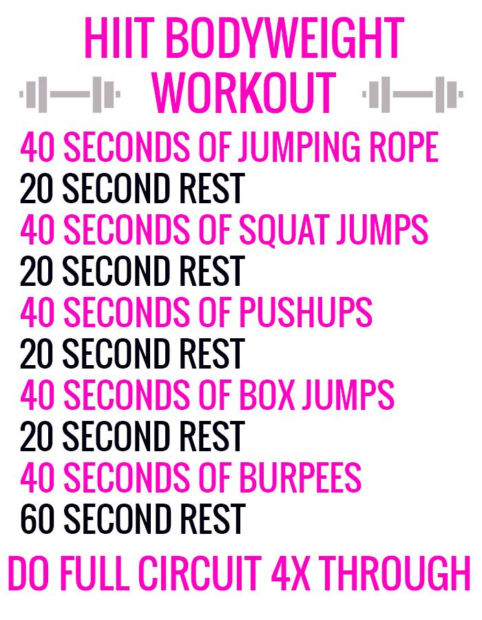 HIIT Bodyweight workout circuit
